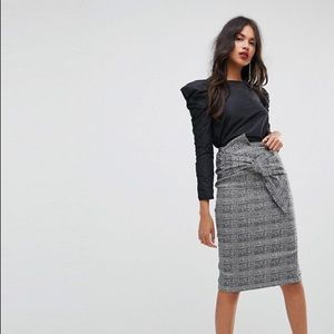 River Island Check Bow Detail Pencil Skirt